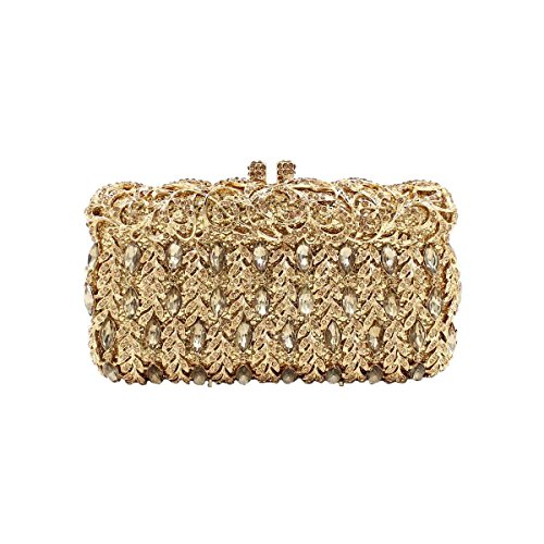 Borsa Nuziale Del Diamante Del Sacchetto Di Sera Di Diamante Di Lusso Delle Donne Gold