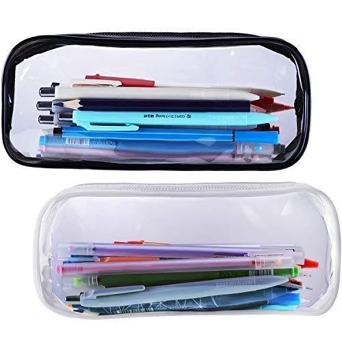Estuche de maquillaje transparente, 2 piezas, bolsas de gran capacidad con cremallera para artículos de papelería y almacenamiento de cosméticos, color negro y blanco
