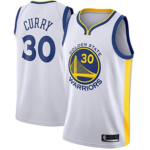 trikotjerseyNBA Stephen Curry - Golden State Warriors #30 Trikot Jersey Stickerei Anzug Sommer Basketball Anzug Hemd, Trägershirt Fitness (L, Weiß) (Curry Warriors State Golden)