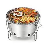 GsaKnc Fumée Gratuit Inoxydable Barbecue à Charbon Barbecue à Charbon Portable Pliable Compact Grill pour Le Camping
