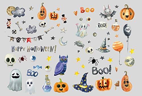 Partycards Halloween Sticker Set Stickerbomb Aufkleber Jungen Mädchen Stickeralbum Deko Geschenke Kinder Kürbis Horror Skelett Geist Augen Spinne