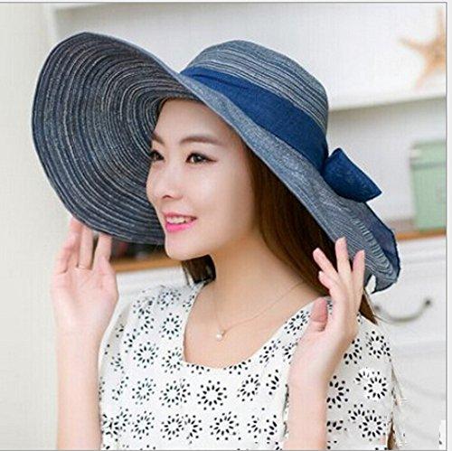 Surker New Style Mode f¨¦minine Chapeau de Paille large Brim Beach Sun Hat Bleu