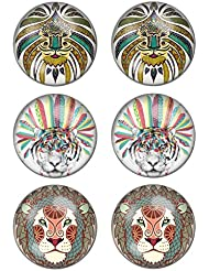 LilMents - Pendientes de tuerca unisex de acero inoxidable, con diseño de tigre y de león, estilo tribal, 3pares