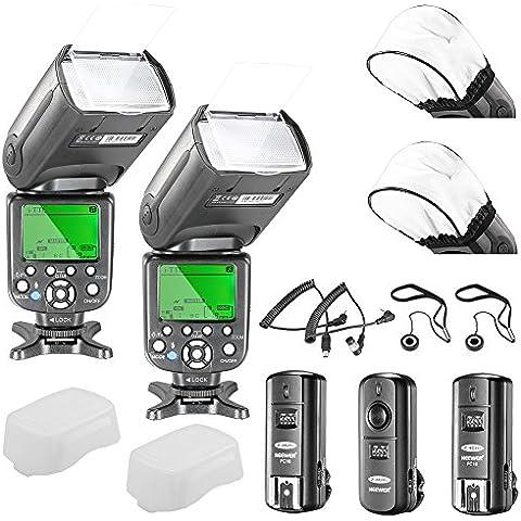 Neewer® NW982N-II *Sincronización de alta velocidad* i-TLL maestro / esclavo Flash kit para Nikon D4S D4 D3S D800 D700 D80 D90 D7000 D7100 D40X D5000 D5100 D5200 D5300 D40 D3000 D3100 D3200 D3300 y otras nikon DSLR Cameras,includes: (2)NW982N-II Flash + (1)2.4GHz inalámbrico disparador (1 Transmisor, 2 receptores) + (2)Cables (N1/N3) + (2)Difusor de flash + (2)Soprte de tapa del
