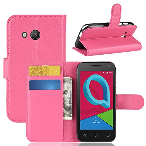 Alcatel U3 3G Grip PU Leather Wallet Case Flip Kickstand Function Ultra Folio Flip Slim Card Holder Case Cover Daily for Alcatel U3 3G (Rosy)