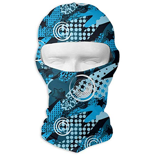 Wfispiy Full Face Mask Neck Hood Sports Mask Blue Spray Graffiti Men Women -