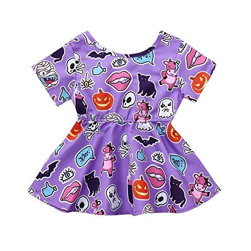 Halloween Kostüm Baby Kurzarm-Body Mädchen Prinzessin Kleid Skelettdruck Strampler Overall Outfits Niedlichen Kinder Tüll Tütü Rock Fotoshooting Kostüm Geschenk Stirnbänder - Niedlichen Baby Monster Kostüm