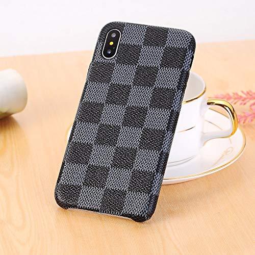 iPhone X Fall, neuen eleganten PU Leder Checker Muster Classic Style Schutzhülle für Apple iPhone X (Farbe: Schwarz) (Ipad-coach Fall)