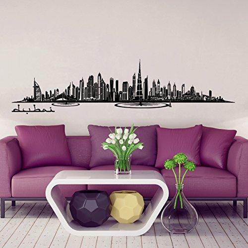 Wandkings Skyline Wandaufkleber Wandtattoo - 125 x 30 cm in schwarz - Deine Stadt wählbar - Dubai
