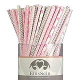 EinsSein 100x Papierstrohhalme Ready-Mix Candyman Hochzeit Party Geburtstag Strohhalme Trinkhalme Cake Pops Sticks und Candy