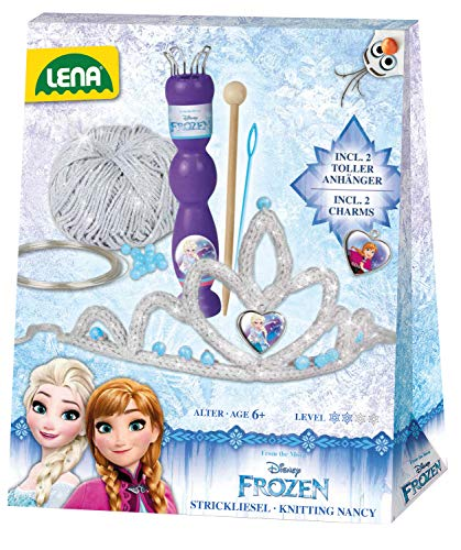 Lena 42031 disney - set per imparare a lavorare a maglia, completo di maglia in legno, lana, ciondolo frozen e ferri da maglia, per bambini dai 6 anni in su, colore: grigio ghiaccio
