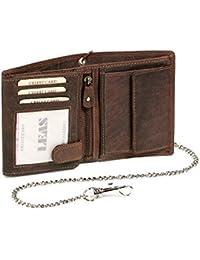 Biker Portefeuille pour homme et femme avec la chaîne chrome Vintage-Style format portrait LEAS MCL, cuir véritable, marron - ''LEAS Chain-Series''