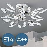 Lampadario a soffitto plafoniera acrilico acciaio cromato con foglie decorative classe A++ fino E (trasparenti)