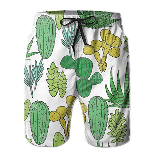 khgkhgfkgfk Green Cactus Men's Beach Shorts Swim Trunks Medium