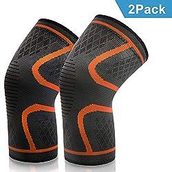 VIPFAN Kniebandage, Knieschoner Knieschützer 2 Pack für Laufen Walking Radfahren Fußball Basketball (L-2, Orange)