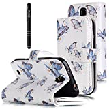 Slynmax Leder Tasche Schutzhülle für Samsung Galaxy S4 Hülle Flip Wallet Case Etui Blau SchmetterlingPU LeatherLederhülleHandyhülle Schutz-Hülle Handytasche Klapphülle Ständer Karten Slotverschluss