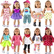 ebuddy 10-Sets Doll Clothes and Accessories for 18 inch American Girl Doll ,Our Generation Doll Include Dress