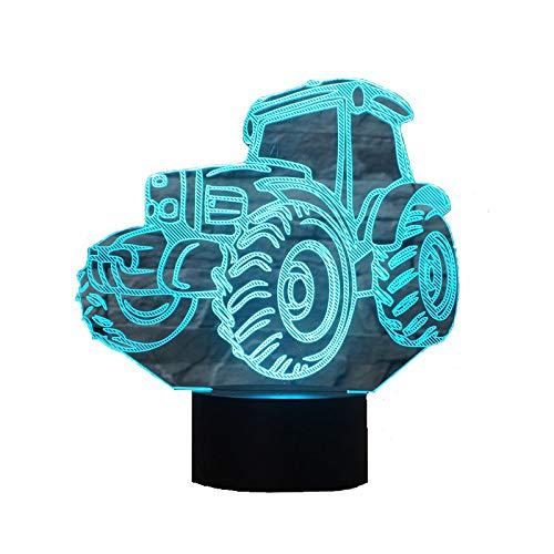 3D Lampe USB Power 7 Farben Amazing Optical Illusion 3D wachsen LED Lampe Traktor Formen Kinder Schlafzimmer Nacht Licht (Traktor Led-licht)