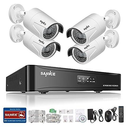 SANNCE 4CH 960P HD POE NVR 4pcs Caméras de Sécurité Surveillance 1.3MP Jour/Nuit Système de Vidéosurveillance Intérieur Extérieur Sans Disque