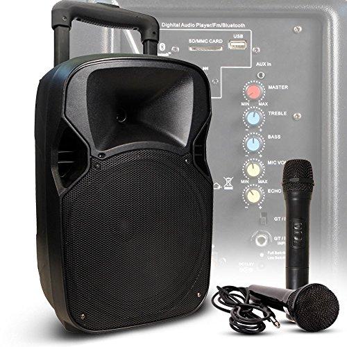 400 Watt Live Party Musik Beschallungsanlage mit Funk und Kabel Mikrofon