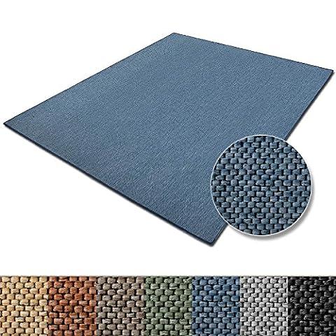 Tapis de salon bleu casa pura® effet sisal   polypropylene + coton   chambre, couloir   7 couleurs et 5 tailles - Sabang,