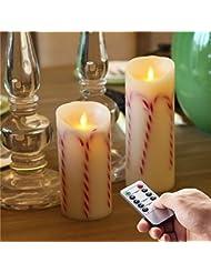 """Candy Stick Christmas Table Dinner Decoration Bougies sans flamme avec t¨¦l¨¦commande (3,5 """"7"""", 9 '')"""