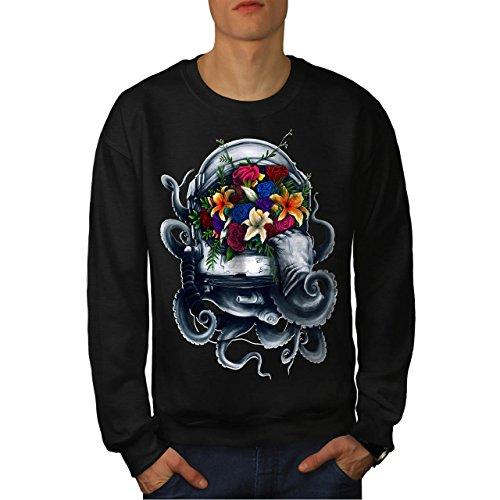 Blumen Baumwolle Pjs (Blume Platz Helm Mode Herren M Sweatshirt | Wellcoda)