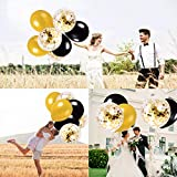 MMTX Luftballons Schwarz Gold Ballons 45 Stück Silvester Luftballons, Ballons Gold mit Gold Konfetti Luftballon für Damen Herren Geburtstag Deko, Deko Silvester 2019, Abschluss Halloween Party - 8