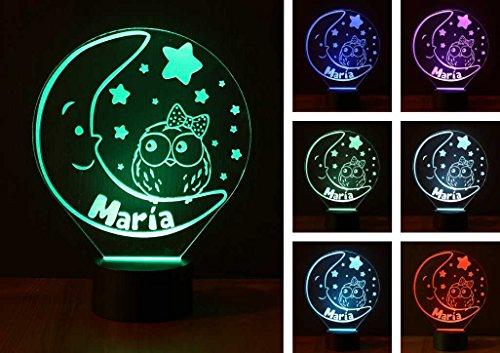 Luna, Kinder-Personalisiert mit Namen, Nachtbeleuchtung LED, Nachtlicht, entfernen Ängste-Nacht LED Licht. Ideal für die Zimmer Babys und Kinder. Bestseller von VPM Original