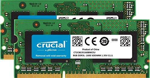 Crucial CT2C8G3S160BMCEU 16GB Kit (8GBx2) DDR3L 1600 MT/s (PC3-12800) SODIMM 204-Pin Memory für Mac