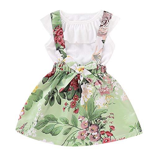 Puseky 2pcs Infant Baby Mädchen Kleidung Ärmelloses Shirt + Floral Hosenträger Rock Outfits Set (Color : Light Green, Size : 4Y-5Y) (Light Green Hosenträger)