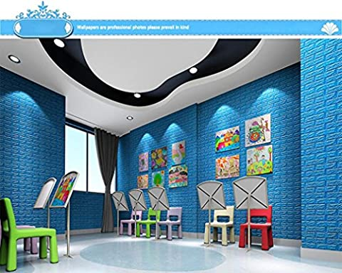 HLHN Creative 3D Brick Self-adhesive Removable Wallpaper Household Home Wall Sticker Poster Acrylic Mural Decoration for Bedroom Livingroom Bathroom Kitchen (Blue)