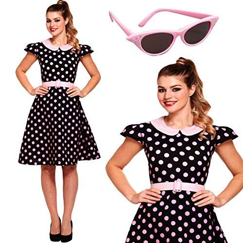 2 Stück 50er Jahre Polka Dot Fancy Dress Kostüm + Pinks 50er Jahre Shades Größe 42 - (1950er Fancy Jahren Dress)
