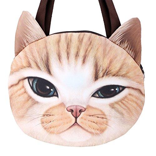 Tragetaschen - All4you Frauen Handtaschen Top-Griff Tasche Tote Damen Ledertasche in Cat Shape(Yellow) (Drucken Tasche Unterschrift Schulter)