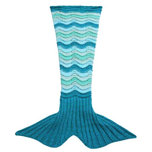 YiZYiF Meerjungfrau Flosse Decke Handgemachte Gestrickte Schlafsack Wohnzimmer Kuscheldecke Decke Kostüm für Erwachsene und Kinder Größen in S, M, L (S, Blau & Dunkel (Jugendliche M&m Für Kostüme)
