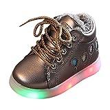 HDUFGJ LED Schuhe Kinder Beleuchtete Freizeitschuhe Mädchen Kinder Schuhe Nette Baby Mädchen Stiefel Plus Samt Leichtgewicht Laufschuhe Faule Schuhe Turnschuhe fitnessschuhe28.5 EU(Kaffee)