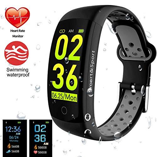 feifuns Fitness Tracker HR, Activity Tracker Blutdruckmessgerät Bluetooth Smart Armband, wasserdicht Fitness Armbanduhr Bluetooth Schrittzähler Kalorienzähler iPhone Android, damen, grau