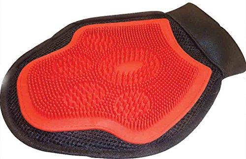 Amesbichler 3Horses Tier Striegelhandschuh Putzhandschuh für Hunde, Pferde, beidseitig atmungsaktiv | Tierpflege Fellpflege, rot/schwarz