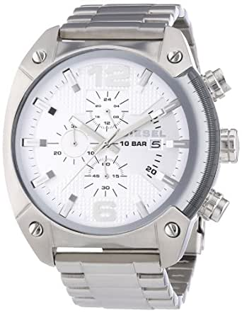 Diesel Overflow Men's Quartz Watch with Silver Dial Analogue Display and Silver Stainless Steel Bracelet Dz4203