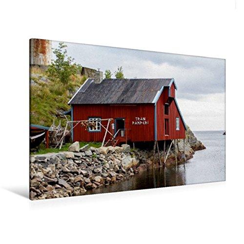 Premium Textil Leinwand 120 cm x 80 cm quer, Der Hafen von Å i Lofoten   Wandbild, Bild auf Keilrahmen, Fertigbild auf echter Leinwand, Leinwanddruck: