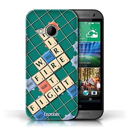 Kobalt® Imprimé Etui / Coque pour HTC One/1 Mini 2 / Connaître conception / Série Mots de Scrabble Lutte Incendie