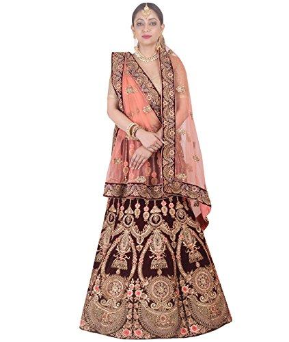 Indian Ethnicwear Bollywood Pakistani Wedding Maroon A-Line Lehenga Semi-stitched-DIVISL047