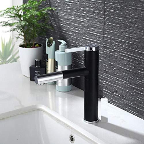 Wasserhahn Küchenarmatur Pull Out And Rotatable Style Single Handle Basin Faucet Matte Black & Chrome & White Bathroom Water Mixer - Hot Plate-matten