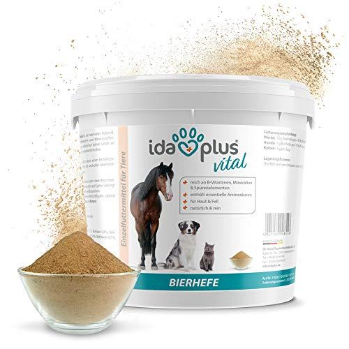 Ida Plus - Reines Bierhefe-Pulver 3Kg - Futterergänzung für glänzendes Fell & kräftige Haut - reich an B-Vitaminen, Mineralien & Spurenelementen - Naturprodukt für ihre Pferde, Hunde, Katzen & Hühner