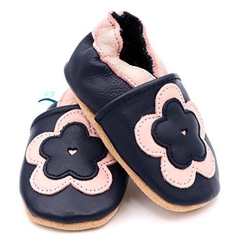 Dotty Fish weiche Lederschuhe für Babys und Kleinkinder - Erste Laufschuhe und Krabbelschuhe für Mädchen - Größen 16 - 28 (Neugeborene - 3-4 Jahre) Marine und Rosa Blume