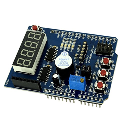 Multi-function Learning Shield ProtoShield, Arduino Compatible Expansion Board with 4 LED Indicator, Digital Display, Temperature Sensor and Piezo Buzzer from Optimus Electric -
