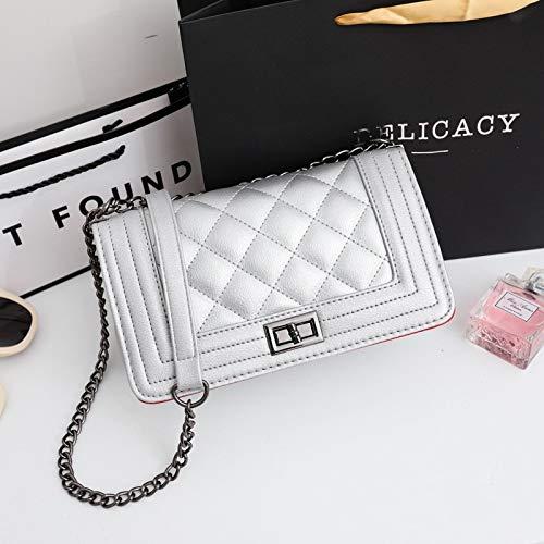 XIAOXINYUAN Frauen Umhängetasche Weibliche Lässig Umhängetasche Damen Kette Kleine Quadratische Tasche Silber (Chanel Handtasche)