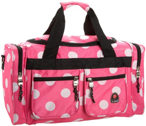 rockland-luggage-19-inch-tote-bag-travel-duffle-pink-dots