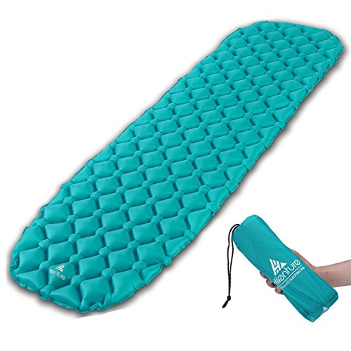 Hikenture Unisex Adult hiken05 Kleines Packmaß Ultraleichte Aufblasbare Isomatte-Sleeping Pad für Camping, Reise, Outdoor, Wandern, Strand (Türkisblau), Kissen, 1