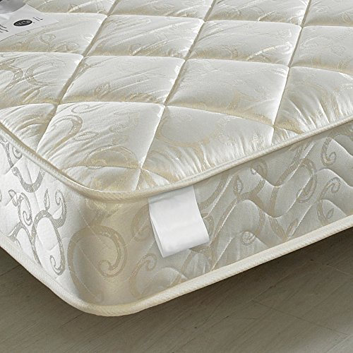 Happy Beds Chatsworth Bunk Bed Wooden White Finish 2x Luxury Spring Mattress 3' Single 90 x 190 cm